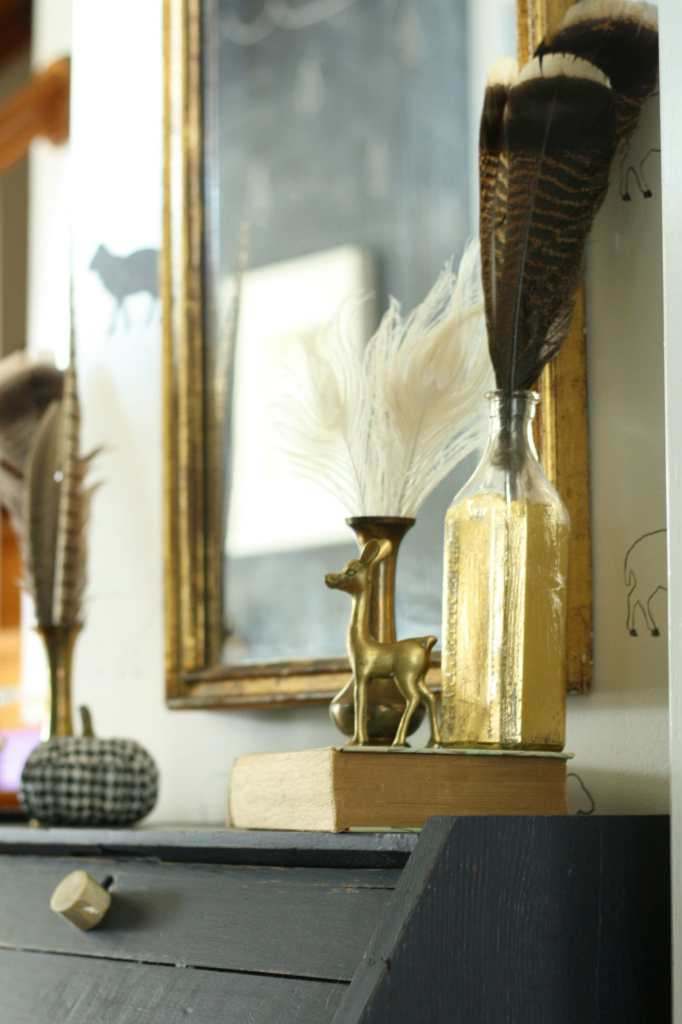 #EclecticallyFall entry with feathers and gold