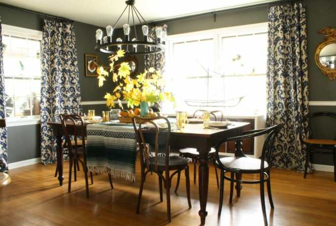 moody dining room set with warm natural bohemian thanksgiving table