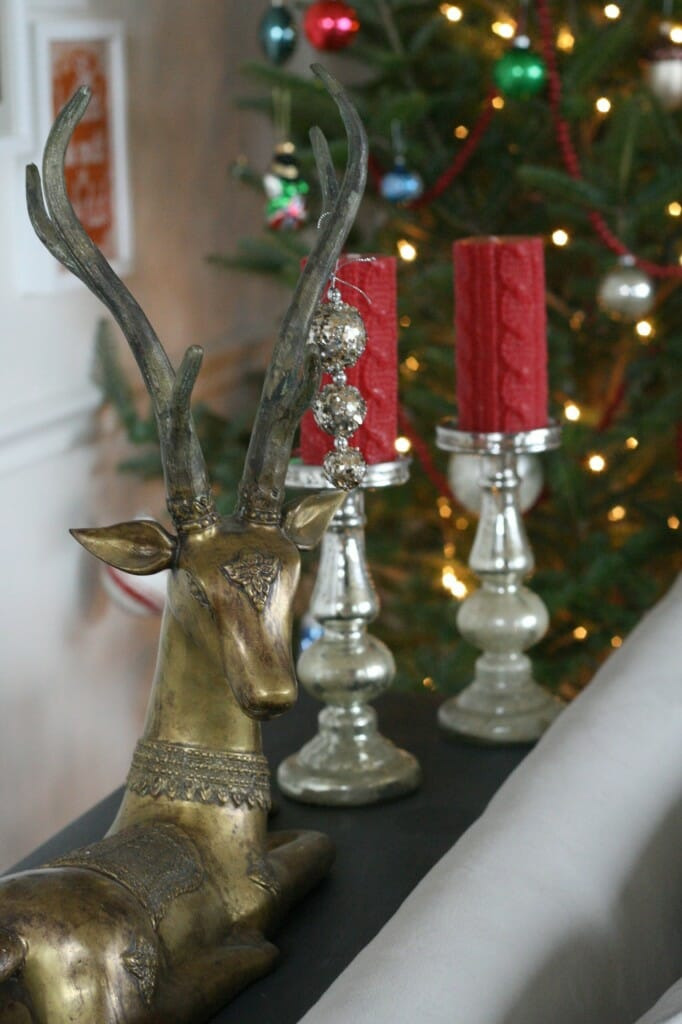 antelope decked out with glittery ornament and mercury glass