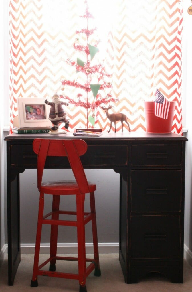 sawyer's room- red tinsel tree