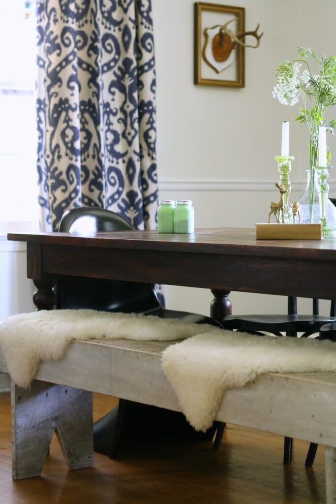 Bench with sheepskins