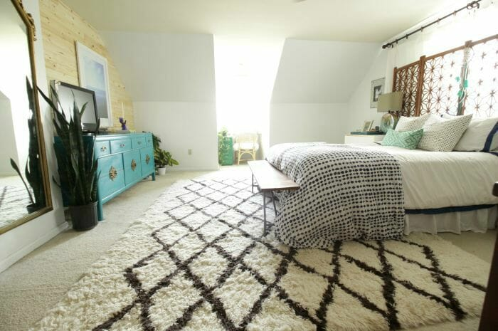 Master Bedroom Makeover: Eclectic Space with Shiplap Wall