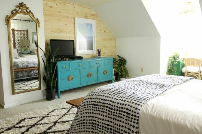 DIY Shiplap wall in Eclectic Bedroom