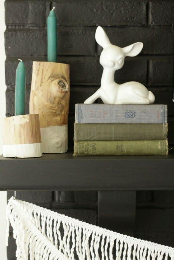 Dipped Log candlesticks, deer, vintage books