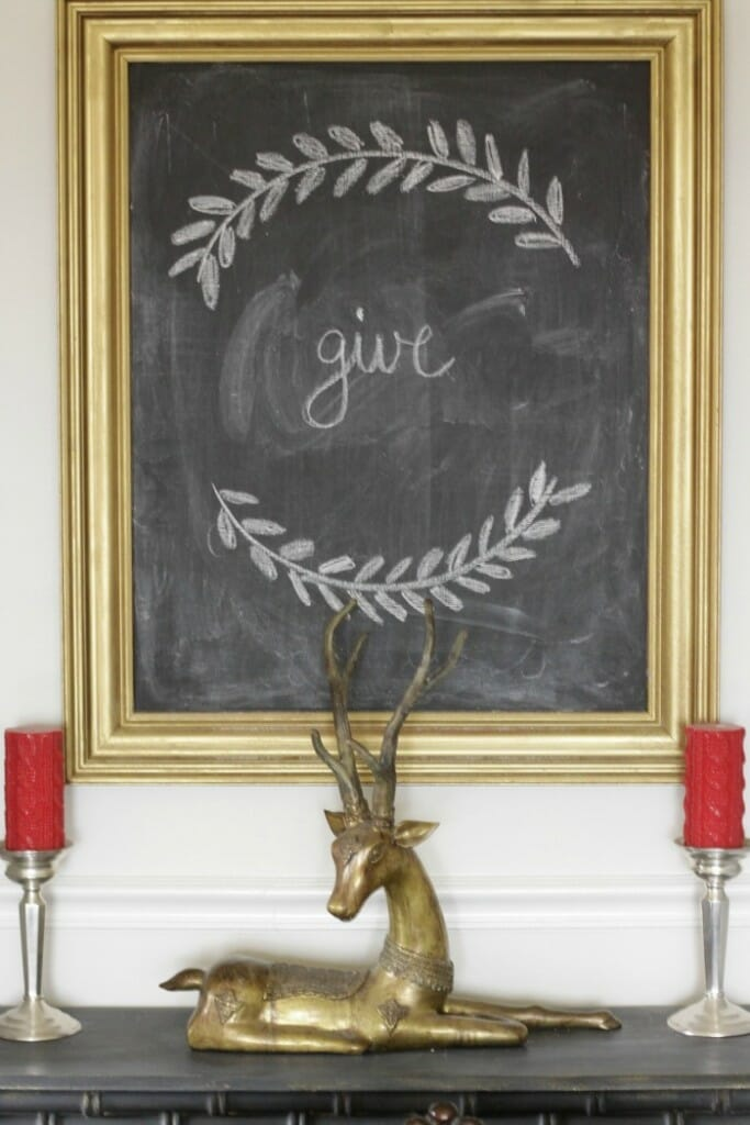 Simple give on chalkboard for christmas, brass antelope
