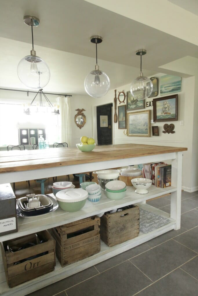 Industrial island in an eclectic kitchen