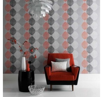 retro leaf orange pattern wallpaper living room