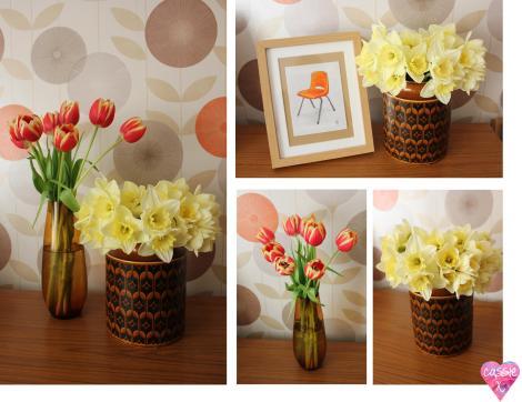 Retro Hornsea pottery vase 60s 70s glass vases vintage floral