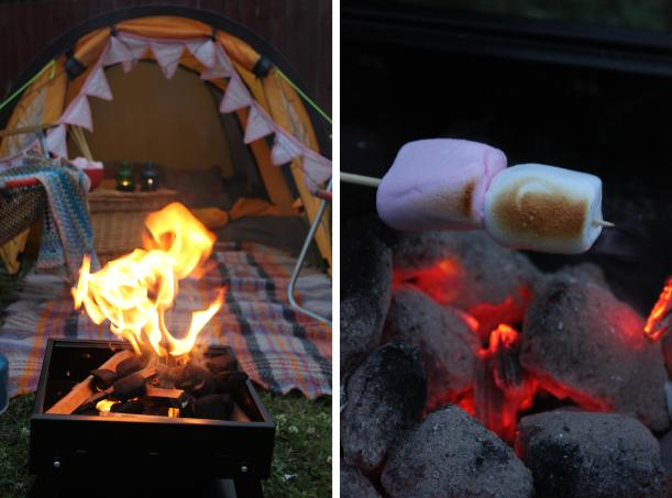 big night in v festival at home glastonbury latitude camping bonfire fire pit marshmallow