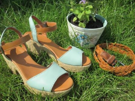 Tuesday Shoesday Turquoise and tan summer wedge shoes from Next