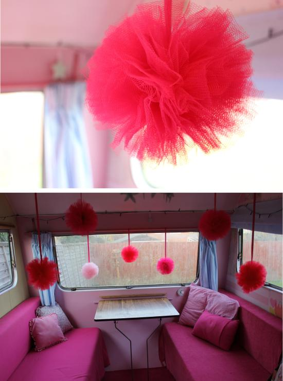 DIY pink tulle pompom decorations for party or christmas