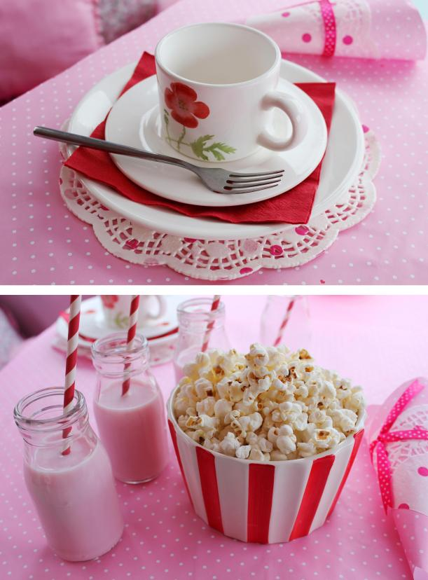 pink and red party theme afternoon tea milkshake and popcorn