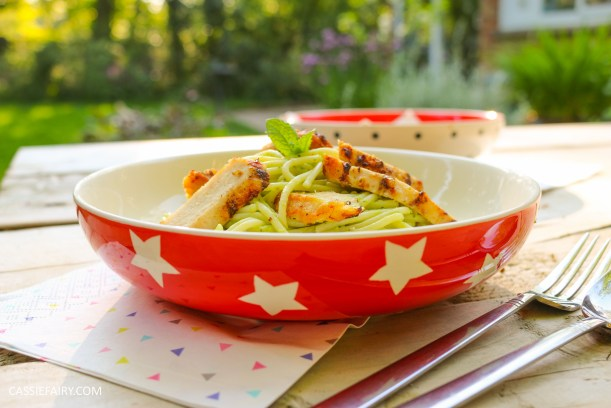 minted pea pasta recipe with grilled chicken breast al fresco meal dinner-23