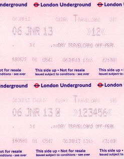 "adult and child Travelcards for London ""Tube"" bought at a London Underground booth"