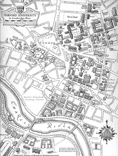 Harvard University map, circa 1945, Cambridge, Massachusetts, downloaded from Wikimedia Commons