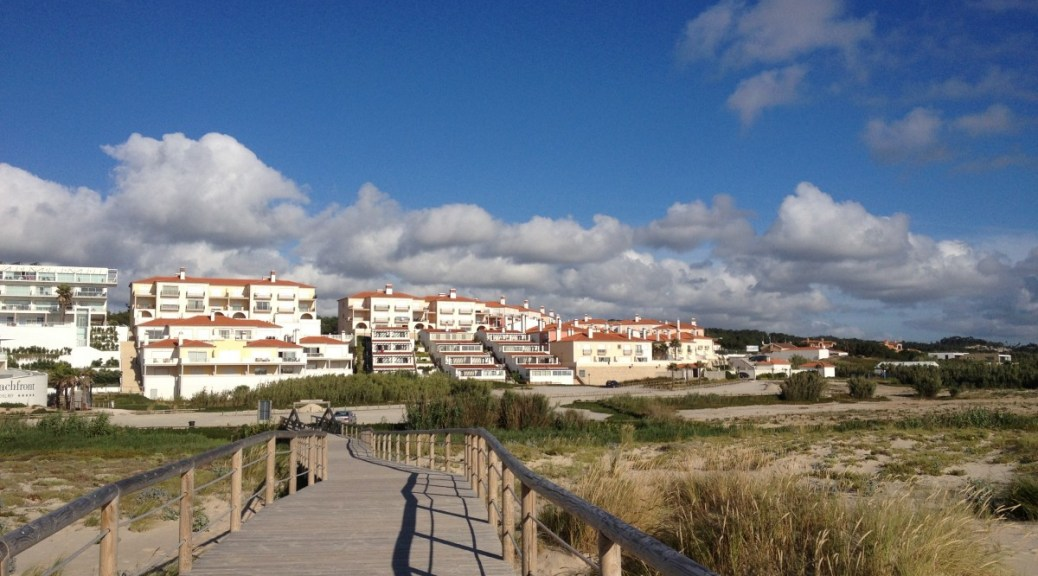view from the beach onto the Vacation Club section of the Marriott Praia d'El Rey property in Obidos, Portugal
