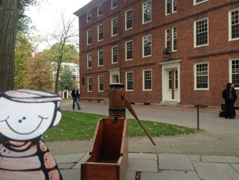 Flat Stanley with the replica of the College Pump
