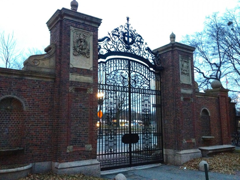 "Johnston Gate, the ""official"" entrance to Harvard Yard"