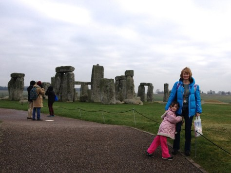 Jolanta with her daughter with Stonehenge in the background