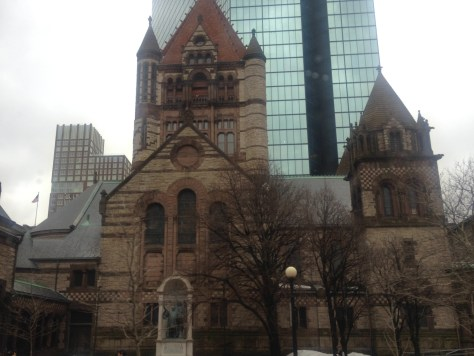 Trinity Church in the Copley Square, with the Hancock Tower behind