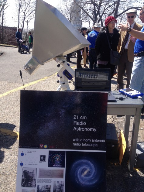 Radio telescope on display during the Cambridge Science Festival event at the Harvard-Smithsonian Center for Astrophysics