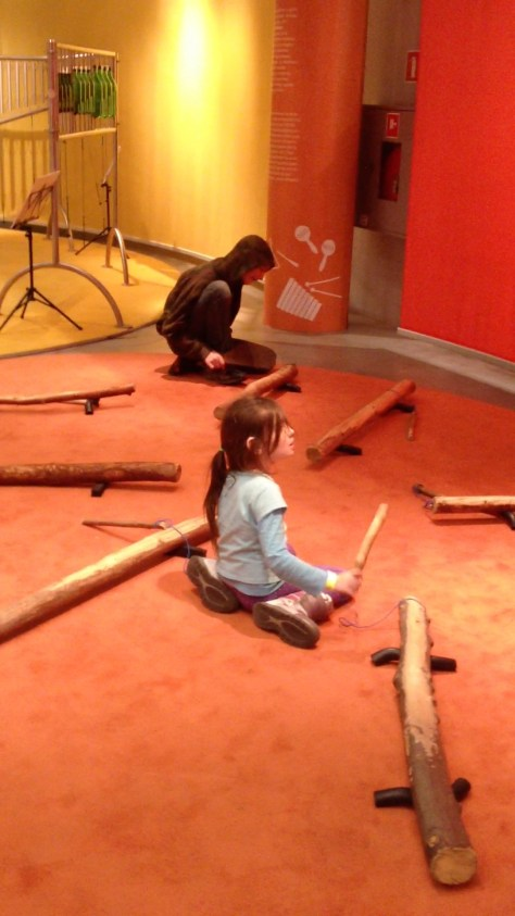 making music with sticks at the Copernicus Science Centre in Warsaw, Poland