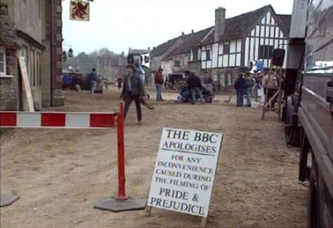 shot of the corner of East and High Streets in Lacock, during filming of the BBC Pride and Prejudice