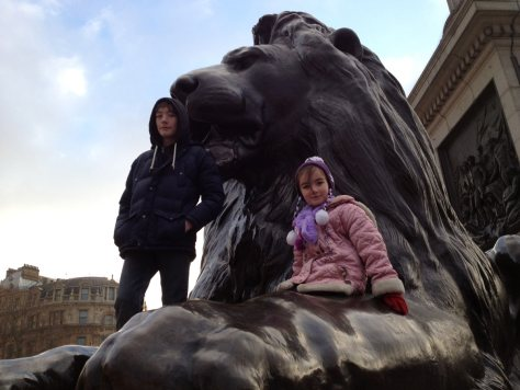 Nelson's column in Trafalgar Square, London, is not really a playground, but loads of kids have a lot of fun climbing up for a photo op with the lions