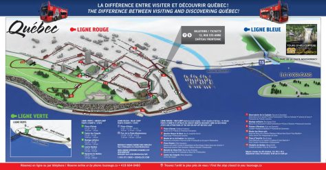 route of Ligne Rouge (Red Loop) of Les Tours du Vieux Quebec (click on the photo to open the pdf of the official tour guide)