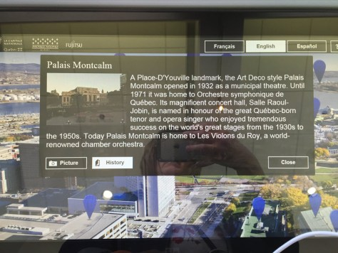 display panel about Palace Montcalm