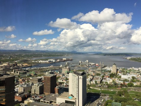 northeast view from the Observatoire de la Capitale toward St. Lawrence River and the Quebec City port