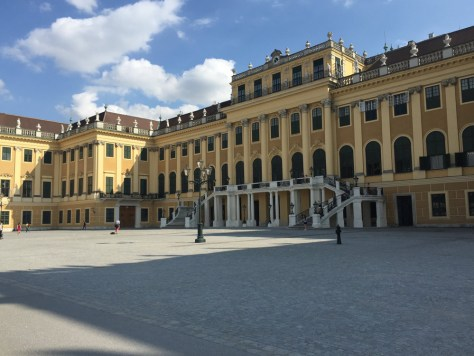 The grand entrance to the Schönbrunn Palace up close