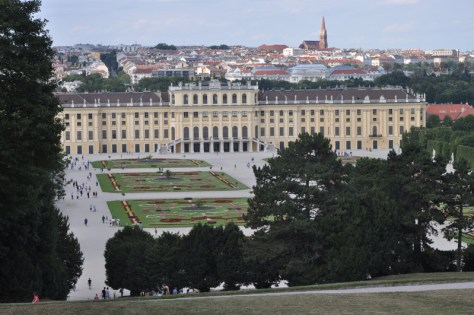 View of the Schönbrunn Palace and its gardens from the Gloriette area