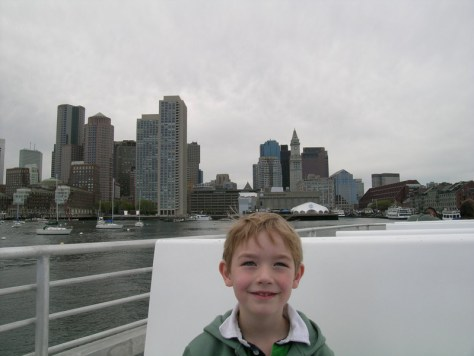 With Boston view behind on a local adventure to Boston Harbor Islands in 2006