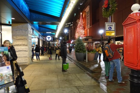 evening scene at Downtown Crossing