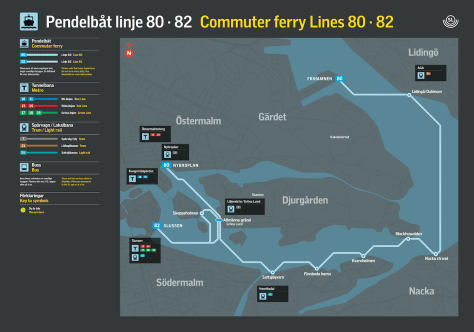 Route of Stockholm's commuter ferry lines 80 and 82