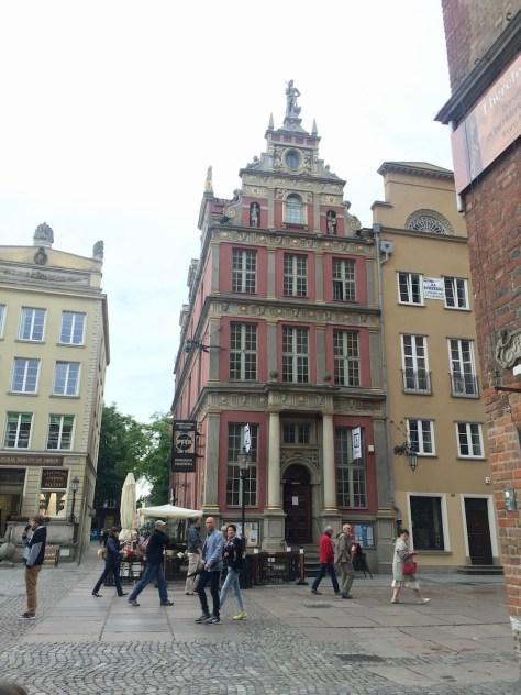 One of ornate buildings along Długa (Long) street, Gdańsk, Poland