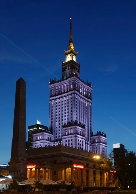Pałac Kultury i Nauki (Palace of Science and Culture) at night from the southeast corner, Warsaw (Warszawa), Poland