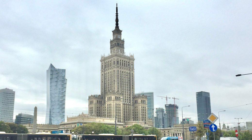 Pałac Kultury i Nauki (Palace of Science and Culture) in Warsaw (Warszawa), Poland from Marszłkowska Street