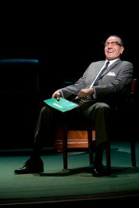 Robert Schenkkan credits much of All the Way's success to the powerful charisma of star Bryan Cranston, pictured here in the New York production of All the Way, directed by Bill Rauch.  New York Production Photo by Evgenia Eliseeva.