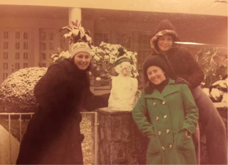 "Figure 2 The author's mother, with friends & a ""snowman""- morning of July 17th, 1975"