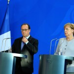 Francois Hollande, Angela Merkel Press conference.   Francois Hollande President of France, Angela Merkel Chancellor of Germany, Matteo Renzi Prime minister of Italy. Chancellory, Berlin, Germany. 27.06.2016. Photo: Krisztian Bocsi