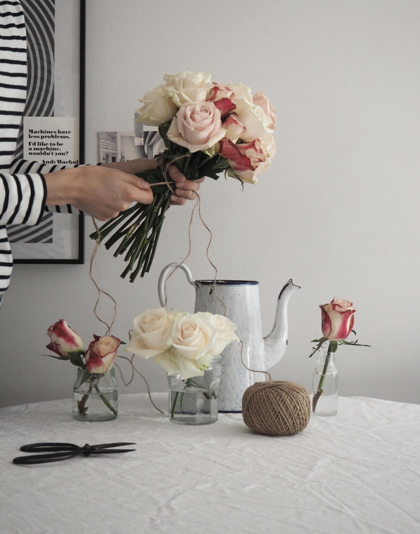 Flower arranging roses with M&S