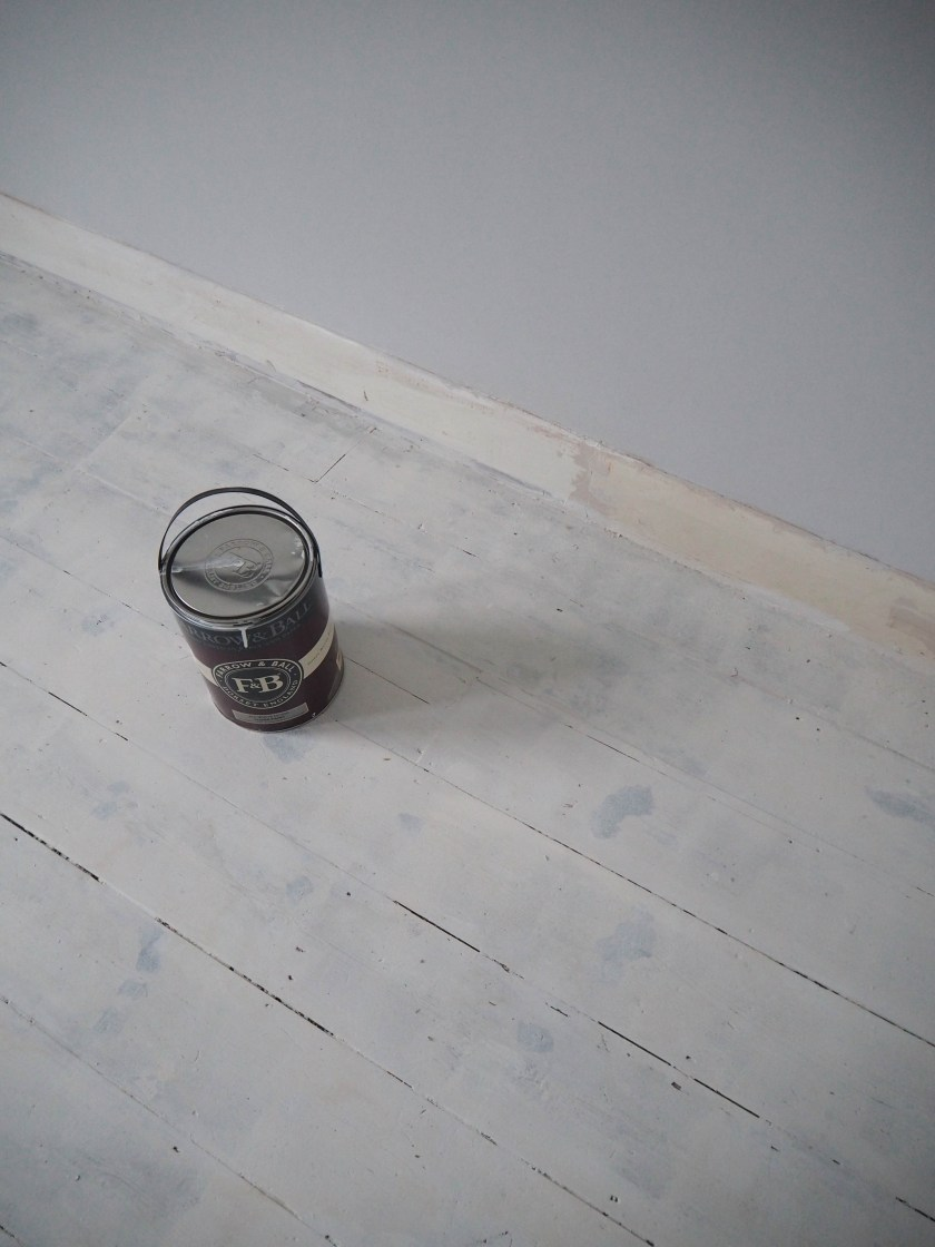 house renovation - painting wooden floors white