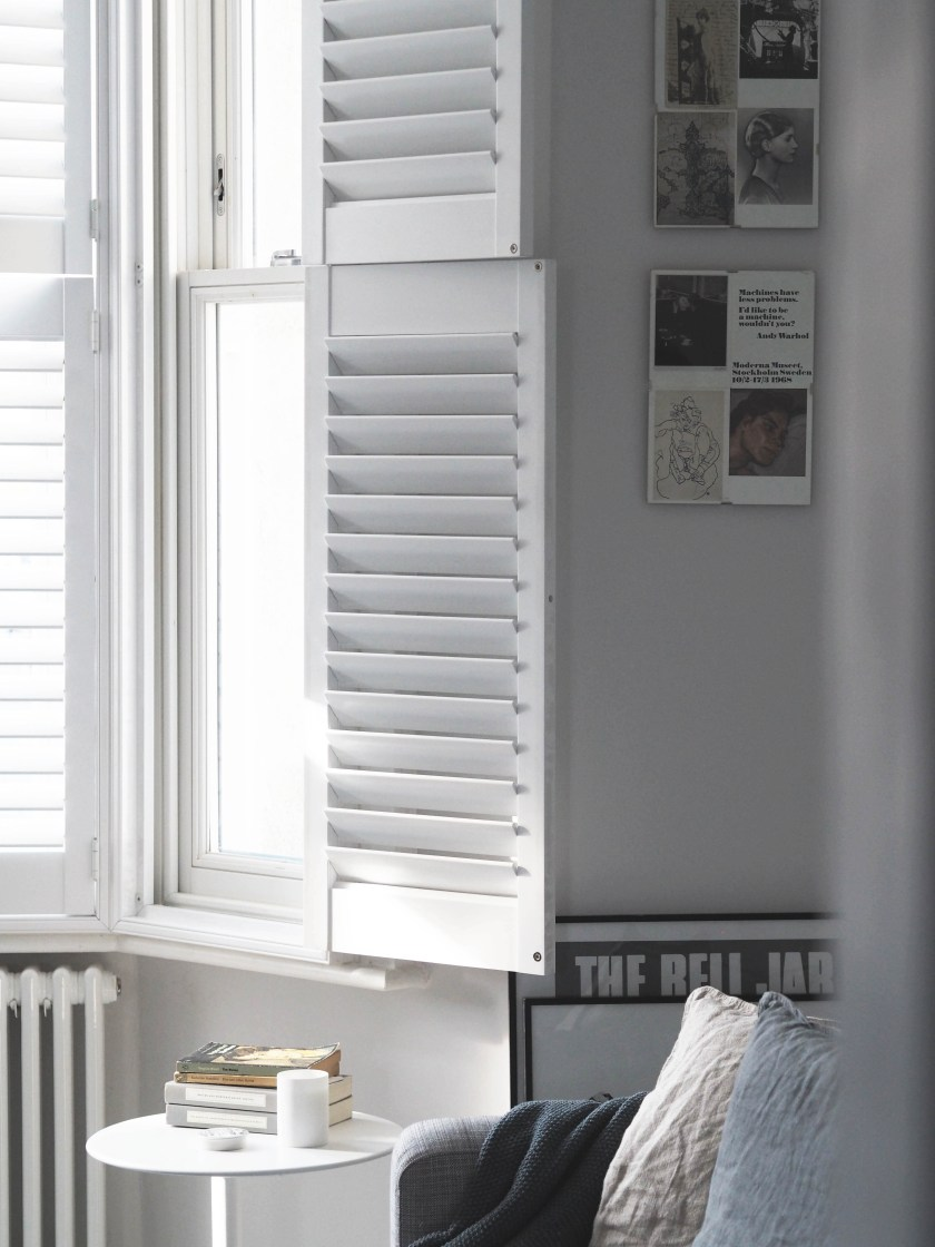 Wooden window shutters from Hillarys - light living room inspiration - window treatments - scandi-style interiors