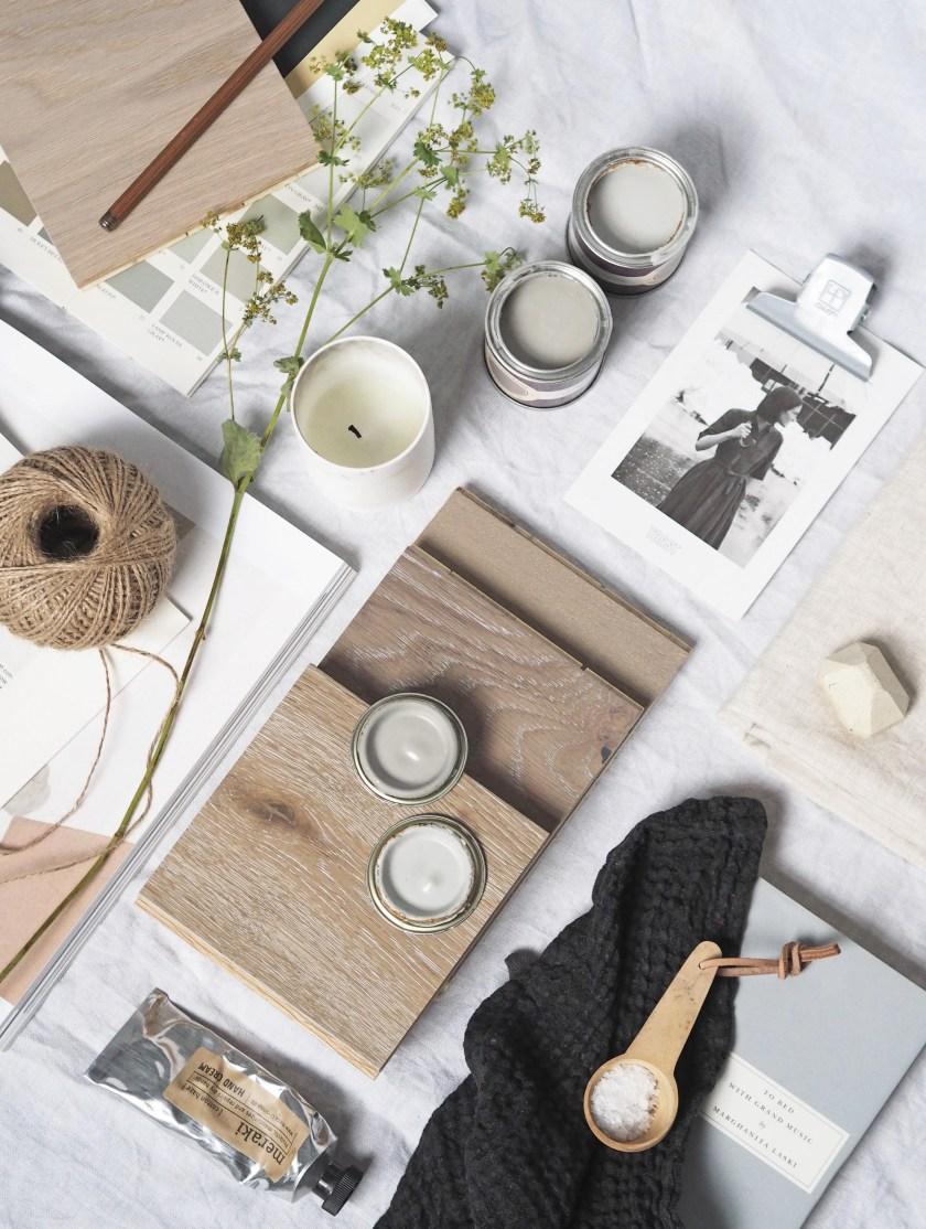 Creating a calm haven with grey wood flooring - woodpecker flooring - solid oak flooring - light grey and muted palette mood board - flat lay - interiors mood board - natural textures
