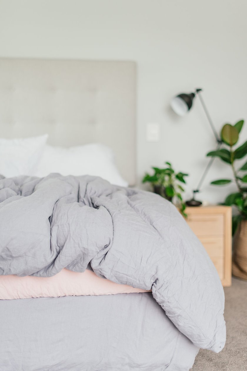 Pure linen bedding grey and blush