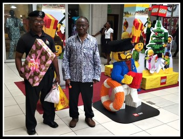 Clem on right with our driver Hyacinth at Shoprite Mall in Lagos