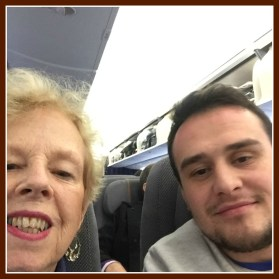 My seat-mate took a pic of him and me, so I did the same. On the plane from Frankfurt before take-off.