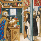 Saint Bonaventure writing the life of Saint Francis, when Saint Thomas comes to call.